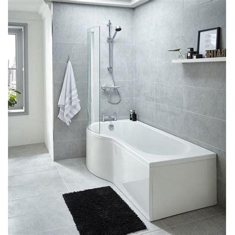 Whirlpool Shower Bath by Premier 1700mm Left Whirlpool P Shaped Shower Bath