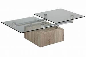 Table Basse Verre Design : table basse design bois et verre plateaux pivotants cbc meubles ~ Teatrodelosmanantiales.com Idées de Décoration