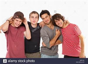 Teenagers four friends male boys fun group 4 Stock Photo ...