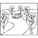 Road Coloring Printable Cars طريق Sketch sketch template