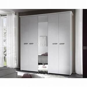 Armoire Blanche Miroir : armoire design 5 portes 1 miroir laqu e blanche estelle matelpro ~ Teatrodelosmanantiales.com Idées de Décoration