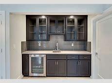 Basement bar kitchen with a wine bar, white quartz