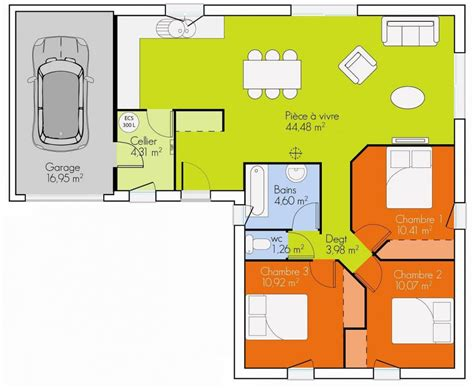 maison 3 chambres plan de maison gratuit 3 chambres ciabiz com