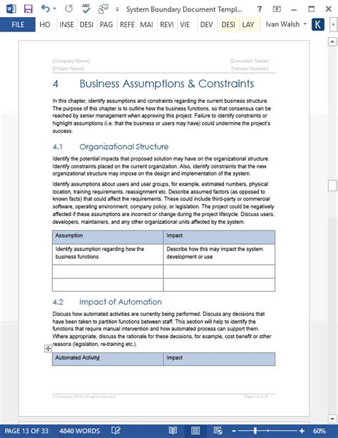 system boundary document template ms wordexcelvisio
