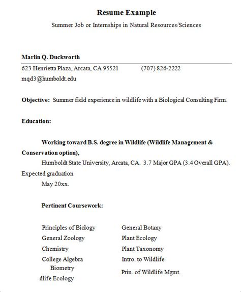 internship resume templates  samples examples