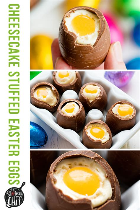 Baking without eggs can be a little tricky, but there are so many easy eggless desserts to try, from no bake oreo cheesecake to eton mess or apple crumble. Cheesecake Filled Easter Eggs | Recipe in 2020 (With ...
