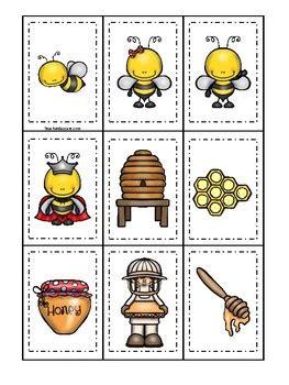 honey bees themed memory match game printable preschool