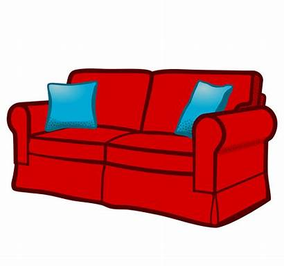 Sofa Couch Clipart Clip Coloured Transparent Vector