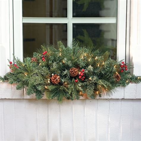 classic pre lit window christmas swag christmas decor traditional wreaths and garlands by