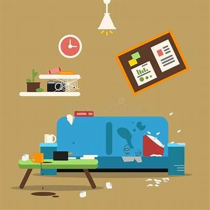 Dirty Apartment Sofa Illustration Bedroom Vector Organized