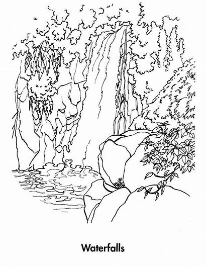 Coloring Pages Waterfall Waterfalls Printable Nature Colouring