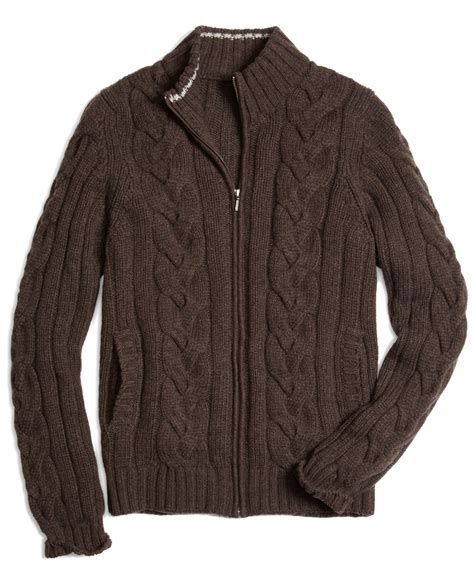 zip front sweater brothers zip front cable cardigan in brown