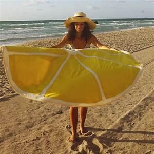 Serviette De Plage Ronde Coton : serviette de plage diy ronde citron tissu coton pais perles co ~ Teatrodelosmanantiales.com Idées de Décoration
