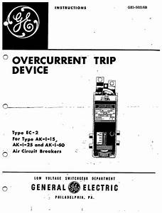 gei 50216 overcurrent trip device type ec 2 for type ak 1 With general electric relay manuals