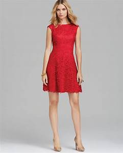 Papell Short Lace Fit And Flare Dress In Red Lyst