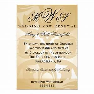 damask monogram wedding vow renewal invitations 5quot x 7 With wedding invitations for renewal of vows