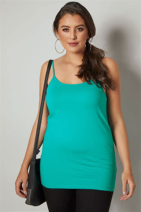 Jade Green Cami Vest Top Plus Size 16 To 36