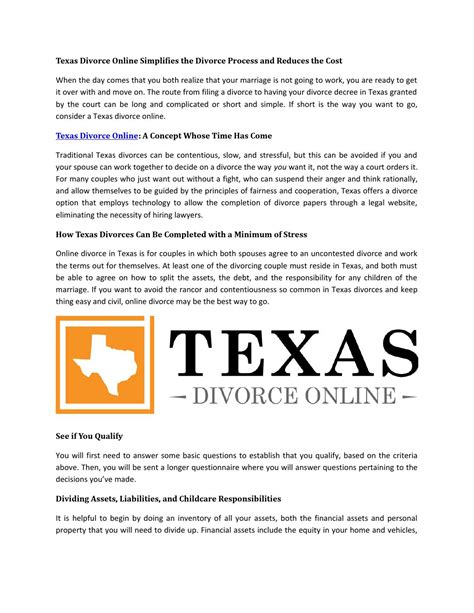 texas divorce online a concept whose time has come by