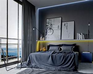 cool bedroom ideas for men also gray curtain color and ...