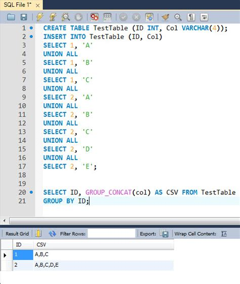 sql columns multiple linq mysql grouping column string single select