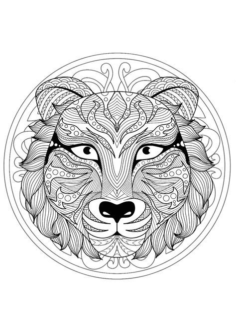 Complex Mandala coloring page with tiger 1 - Difficult