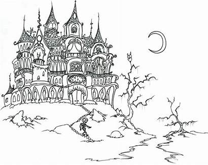 Skeleton Halloween Castle Coloring Adult Pages Adults