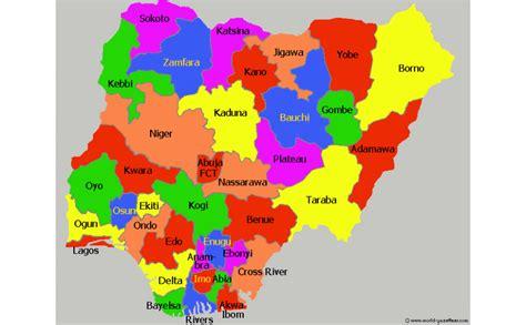 map  nigeria showing   states