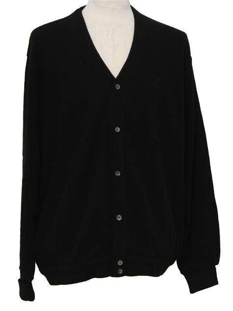 mens black sweater vintage 80s caridgan sweater 80s izod mens black