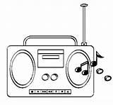 Radio Cassette Coloring Coloringcrew sketch template