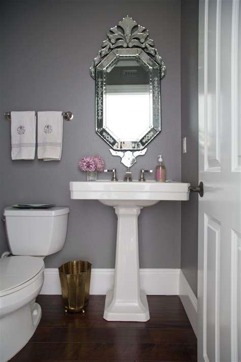 Powder Room Makeover — Studio Mcgee. Shabby Chic Curtains. Lee Sectional. Glass Front Cabinet. Leather Barstool. Unique Tv Stands. Dog Shade Ideas. Retro Living Room. Wood Linoleum