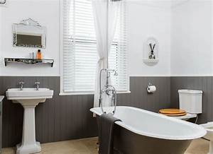 Traditional bathroom with grey roll top bath and painted for Tongue and groove wall panelling for bathrooms
