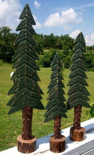 set   hand carved wooden pine trees northwoods