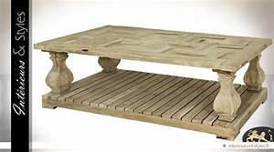Table Basse Rustique : table basse rustique en acacia massif patine blanc antique int rieurs styles ~ Teatrodelosmanantiales.com Idées de Décoration
