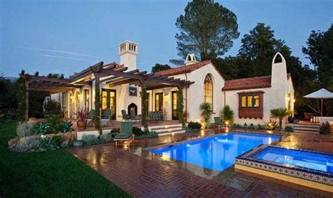 spanish style ranch homes pool home house plans