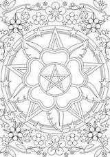 Pentacle Para Mandala Wiccan Colorir Coloring Coloriage Mandalas Cósmica Personalizadas Conexão Lotus Pagan Dessin sketch template