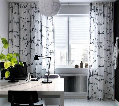 ikea eivor curtains drapes white black bird leaf garden design