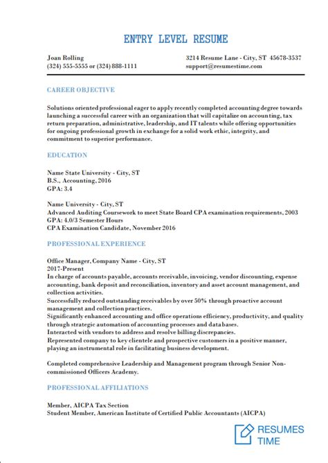 Entry Level Resume by Entry Level Resume Sles And Exles 2018 At Resumestime
