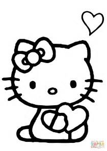 Hello Kitty with a Heart coloring page Free Printable