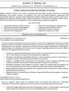 chief compliance officer resume exle compliance officer resumes