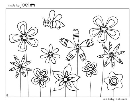 Made By Joel » Bee And Flowers Coloring Sheet