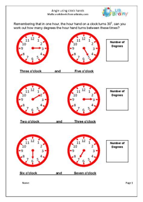 angle using clock hands geometry shape maths worksheets
