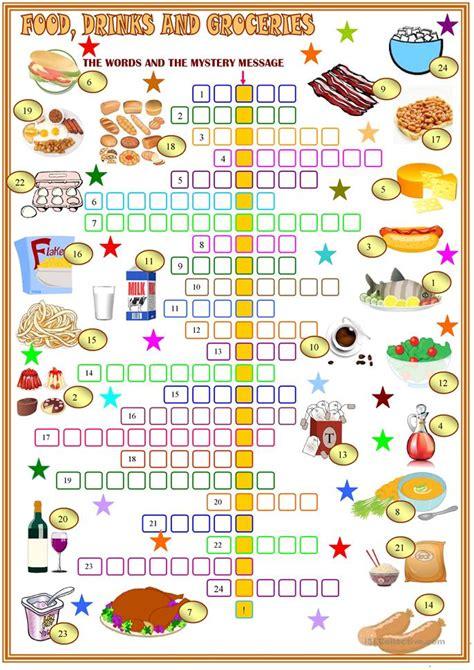 food drinks  groceries crosswords worksheet  esl