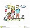 Happy family drawing stock illustration. Illustration of ...
