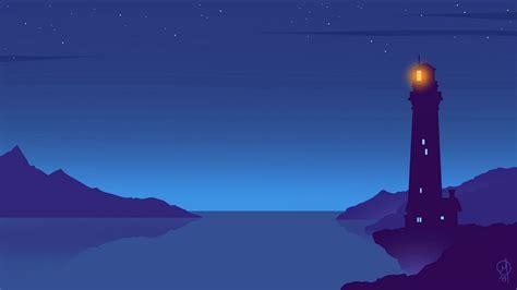 wallpaper  lighthouse night vector