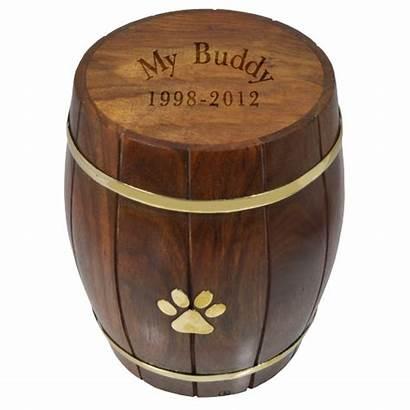 Urn Urns Pet Cremation Wood Paw Barrel