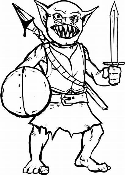 Warrior Hero Goblin Monster Coloring Hard Pages