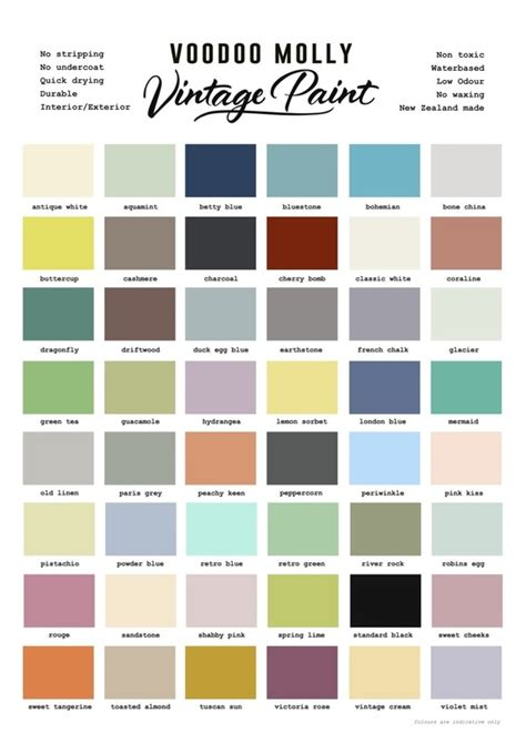vintage paint colour chart grace and