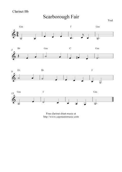 Scarborough Fair, Free Clarinet Sheet Music Notes