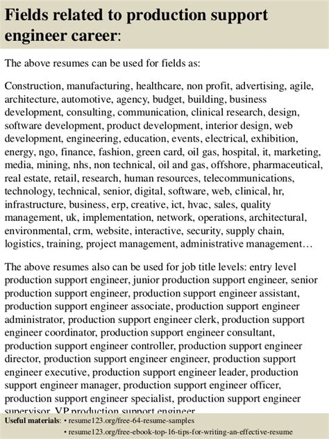 resume for production support engineer top 8 production support engineer resume sles