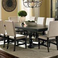black dining room table Leona Cottage Rectangular Antique Black Dining Table with ...